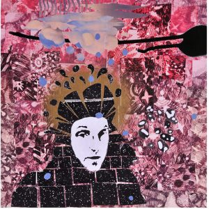 """Cold Winter Rain (self-portrait) 12""""x12"""", collage"""