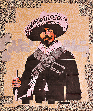 "Dapper Soldado by Mark Martin 18x24"", collage, mixed media, 2015 Unknown soldado from the Mexican Revolution. I thought though he looked a little bedraggled that he was also dapper. Silver leaf elements on bandolero."