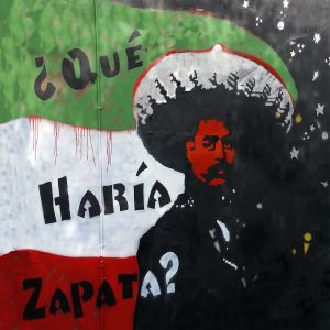 Camp Mural: What would Zapata Do? by artist Mark Martin - Clarion Alley Mural Project, approx. 8x12', San Francisco from 2015 to 2018.