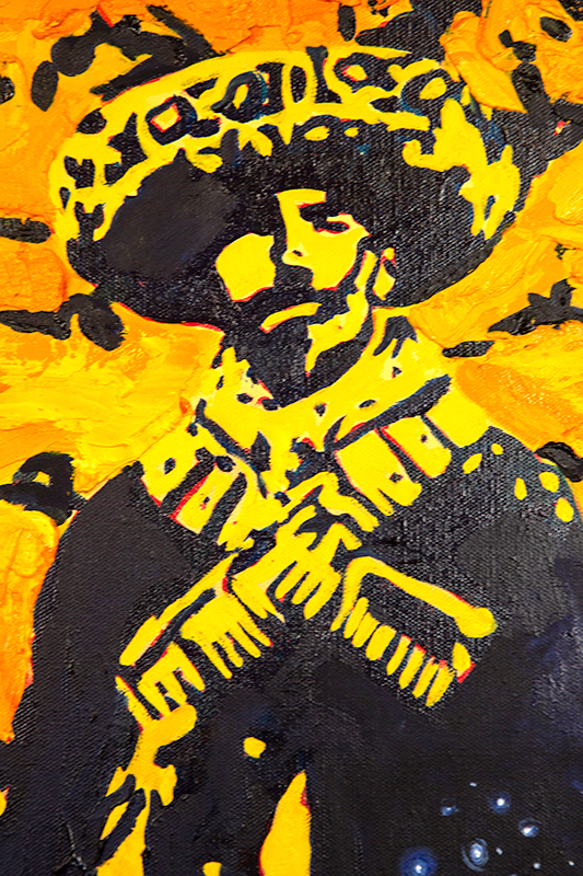 Oil on canvas. Soldero of the Mexican Revolution. Heavy impasto oil paint with areas of think glazed stars in a night sky.