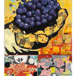 Mixed media, paper collage and acrylic paint on 3 panels, Farm worker holding grapes with magical background.