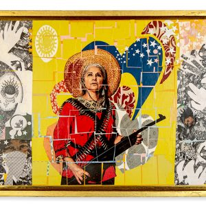 Mixed media, aerosol paint, collage paper on wood panel. Strong woman soldier of the Mexican Revolution with magic abstract elements. Colorful and high contrast. Handmade gold shadow box frame.