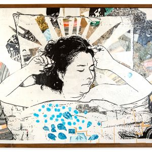 May is dreaming of the Golden Race, La Raza is a collage about dreams both during sleep and dreams for the future. Collage with spray paint on canvas. Comes with simple handmade wooden frame.