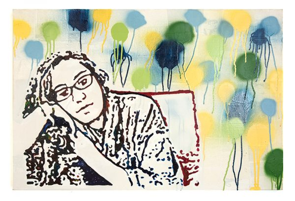 his work is part of the Bouncing Waves series which takes images from Skype and other video conferencing software and becomes art. This piece is of Maya relaxing while talking with me and her mother. The shapes in the background are balloons, grafitti, or what? Definitely a fun and colorful background. Materials are spray paint and acrylic on canvas.