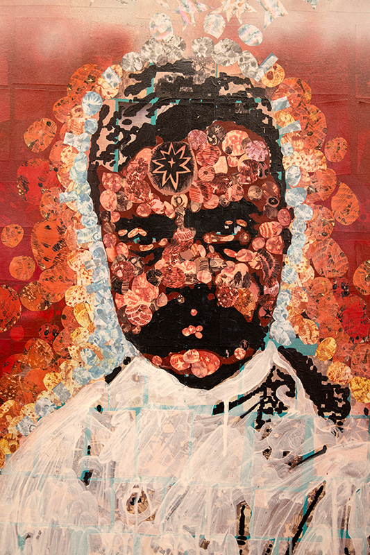 60″x36″, Mixed media, paper collage, aerosol paint, acrylic on 4 canvases. Emiliano Zapata feeling tired from leading the Southern Mexican Revolution. Main color is Red with peacock colors ascending.