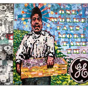 Political Art pointing out disparity of income and justice. One worker, even if undocumented, pays more taxes than General Electric who pays none and gets millions in tax refunds every year. Collage, drawing, and spray paint on 5 wood panels. One large wood main panel and 4 panels on the side. The side panels are mostly black and white abstracts of hands, stars, and moons to represent other worlds existing within our world. A visual metaphor for what could be.