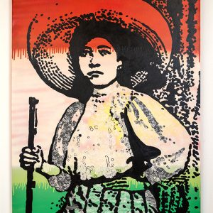 Aerosol paint, acrylic, and lace on canvas. Honoring strong women everywhere. Image of Soldadera from Mexican Revolution in colors of Mexican Flag.
