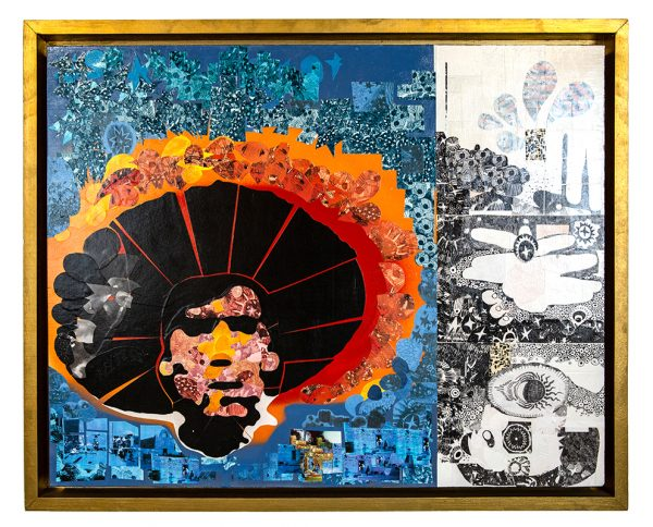Bright sunrise colors blending to pre-dawn blues. Background has image of dawn firing squad on one side and women baking morning bread in communal oven on the other side. Mixed media collage, acrylic, aerosol paint, and paper on wood panel. Comes with handmade frame in rustic gold.