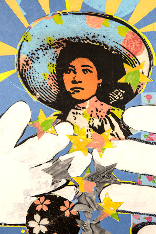 Soldadera from Mexican Revolution around 1910. Depicting strong women. Hands represent her being pulled in different directions considering her choices to fight in a revolution for a better future or to raise her children. She has a kind but serious face. Collage, acrylic, and spray paint on wood panel. Bright colors.