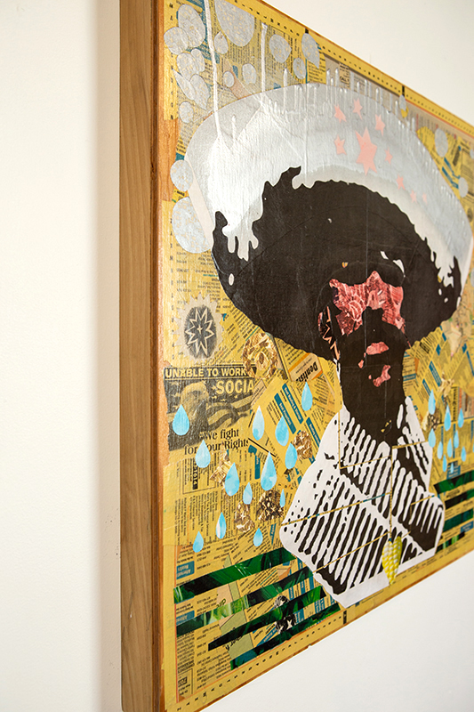 Mixed media, yellow pages, aerosol paint, acrylic, on wood panel. Image from Otis Aultman Collection, El Paso Public Library. Strong dude of the Mexican Revolution.